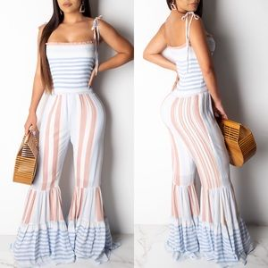 🆕 ➳ The Sky's The Limit Wide Leg Tie Jumpsuit